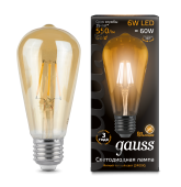 Лампа LED 6Вт Е27 2400К ST64 Golden Gauss Filament